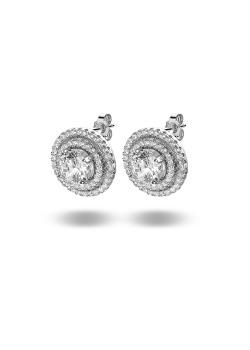 oorbellen in zilver, solitaire zirkonia van 6 mm, 2 cirkels