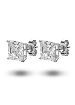 silver earrings, an 8 mm square zirconia