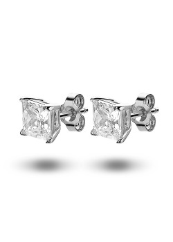 silver earrings, a 7 mm square zirconia