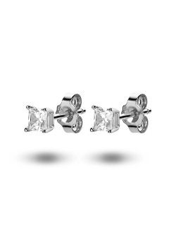 silver earrings, a 4 mm square zirconia
