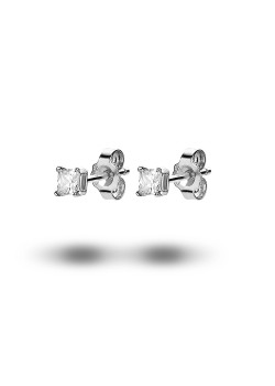 silver earrings, a 3 mm square zirconia