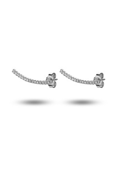 silver earrings, curved bar with zirconia