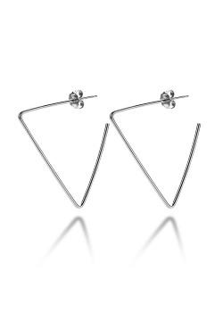oorbellen in zilver, open driehoek