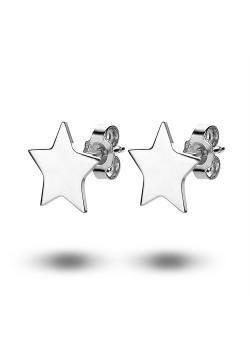 oorbellen in zilver, ster van 12 mm