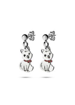 silver earrings, cat