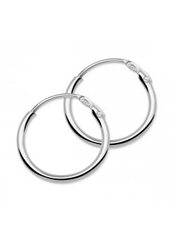 silver hoop earrings, 10 mm