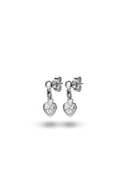 Boucles d'oreilles en argent,  zircon serti clos en forme de coeur suspendu