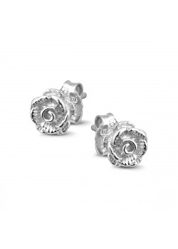 Silver earrings, 7 mm rose