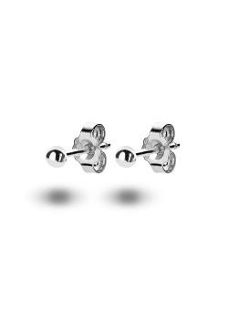 oorbellen in zilver, bolletje van 2 mm