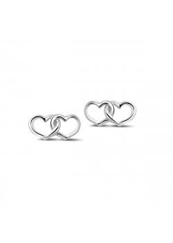 Boucles d'oreilles en argent, sur tige, motif duo de coeurs ajourés entrelacés