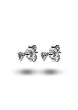 oorbellen in zilver, gehamerd driehoekje