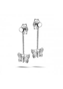 Oorbellen in zilver, hangend vlindertje