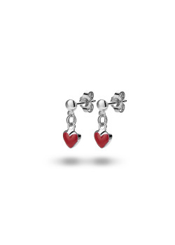 Silver earrings, hanging red heart