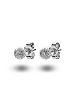 silver earrings, a 5 mm hammered ball