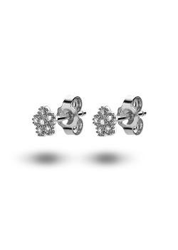 oorbellen in zilver, bloemetje met zirkonia