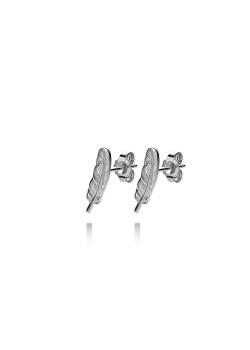 Boucles d'oreilles en argent, plume de 15mm