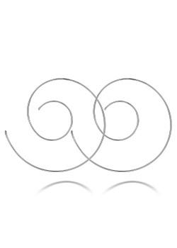 Spiraalvormige creolen in zilver, 60 mm