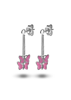 oorbellen in zilver, roze vlindertjes