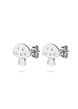 oorbellen in zilver, paddestoel