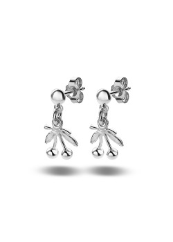 oorbellen in zilver, kers motief