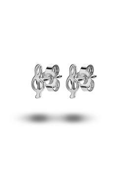 silver earrings, treble clef