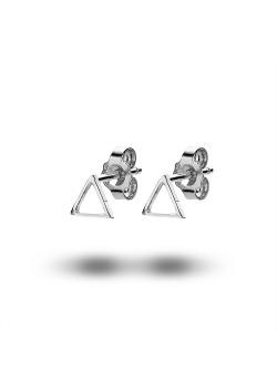 silver earrings, small open triangle