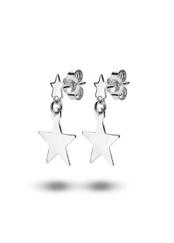 oorbellen in zilver, 2 sterren