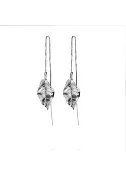 Silver earrings, leaf