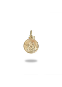 18ct gold plated silver pendant, round with angel