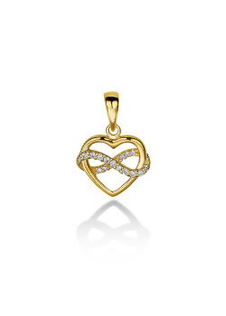 18ct gold plated silver pendant, heart and infinity, zirconia