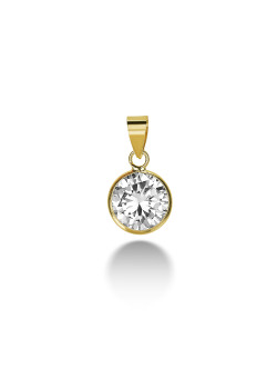 18ct gold plated silver pendant, a 9 mm zirconia