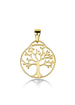 18ct gold plated silver pendant, tree of life