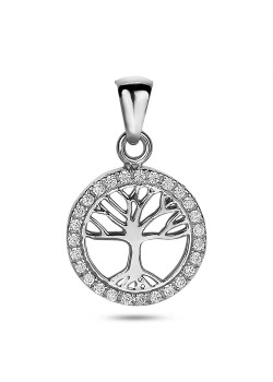 Silver necklace, tree of life in circle in zirconia