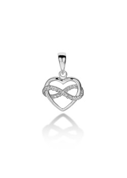 silver pendant, heart and infinity, zirconia
