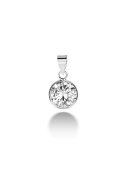 silver pendant, a 9 mm zirconia
