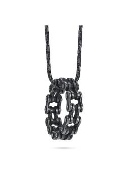 Halsketting in zwart edelstaal, ronde schakelhanger