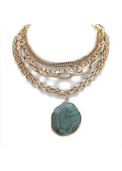 High fashion necklace, 4 gold-colored chains, oval turquoise stone