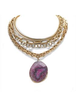 High fashion halsketting, 4 goudkleurige kettingen, ovale paarse natuursteen