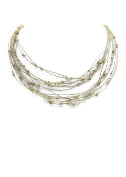 High fashion halsketting, 17 goudkleurige draden, steentjes