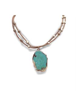 High fashion halskettingn dubbel bruin leer, turquoise natuursteen