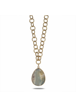 High fashion halsketting, lang, mat, goudkleurige ketting, turquoise-witte natuurlijke steen