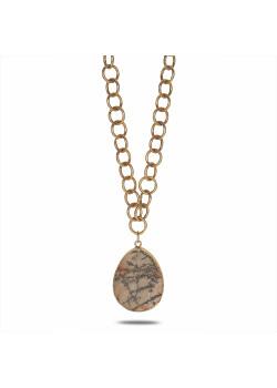 High fashion halsketting, lang, mat, goudkleurige ketting, ovale steen bruin-groen-grijs