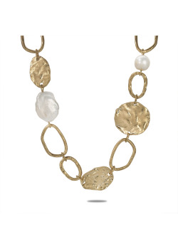 Gold-coloured high fashion necklace, ovals, pearl