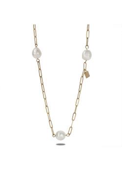 Goudkleurige high fashion halsketting, lang, parels
