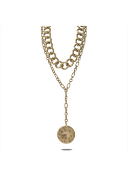 Gold-coloured high fashion necklace, double chain, round, long