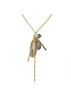 Lange, goudkleurige, high fashion halsketting, witte steen, grijze druppel