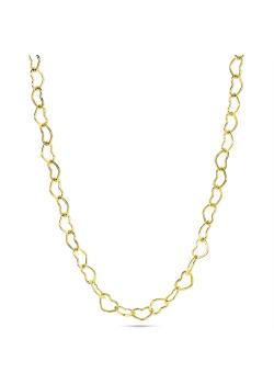 Halsketting in 18kt plaqué goud, open hartjes schakel