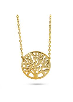 Halsketting in goudkleurig edelstaal, levensboom