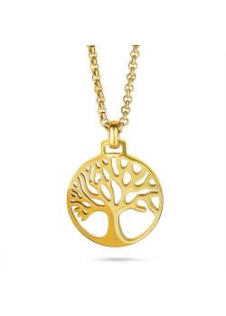 Halsketting in goudkleurig edelstaal met levensboom en lange forcat