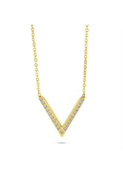 Collier en acier poli couleur or, V en cristaux